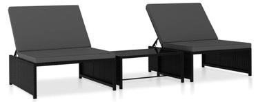 Комплект уличной мебели VLX Poly Rattan 47402, черный, 2 места