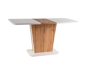 Обеденный стол Signal Meble Calipso Extendable Table White Matt/Wotan Oak, 1100x680x760 мм