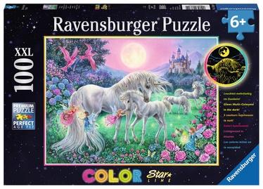 Puzle Ravensburger Color Star Line Unicorns In The Moonlight 13670, 100 gab.