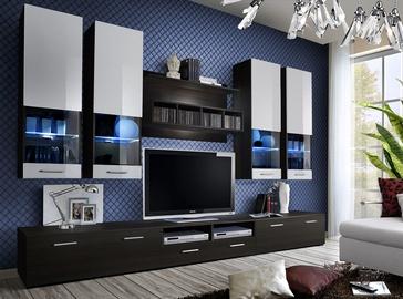 Dzīvojamās istabas mēbeļu komplekts ASM Dorade Wenge/White
