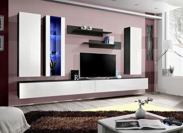 ASM Fly E Living Room Wall Unit Set Vertical Glass Black/White Gloss