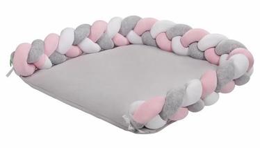 Matracis autiņu maiņai Lulando Braid Welur, 76x76 cm, balta/rozā/pelēka