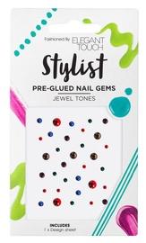 Elegant Touch Stylist Pre Glued Nail Gems Jewel Tones