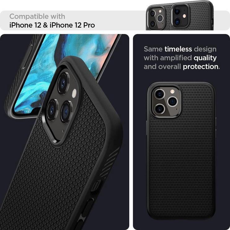 Spigen Liquid Air Back Case For Apple iPhone 12/12 Pro Matte Black