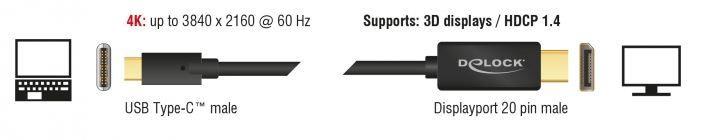 Delock Cable USB / DisplayPort 2m