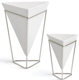 Umbra Trigg Vases White/Nickel 2pcs