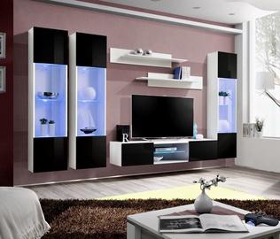Dzīvojamās istabas mēbeļu komplekts ASM Fly P3 Black/White