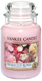 Aromātiskā svece Yankee Candle Classic Large Jar Fresh Cut Roses, 623 g, 110 h
