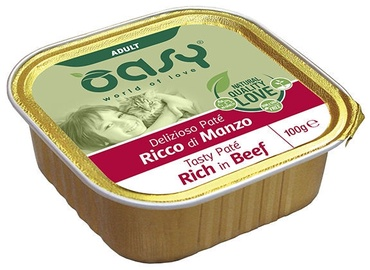 Oasy Tasty Pate Rich In Beef Adult Cat Wet Food 100g
