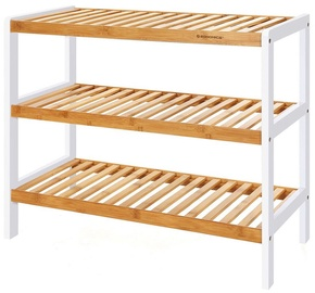 Songmics Shoe Rack White/Wooden 70x25x55cm