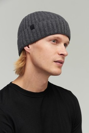 Audimas Knitted Merino Wool Hat With Cashmere One Size Grey