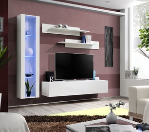 Dzīvojamās istabas mēbeļu komplekts ASM Fly G Vertical Glass White/White Gloss