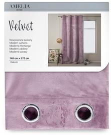 AmeliaHome Velvet Curtains Mauve 140x270cm