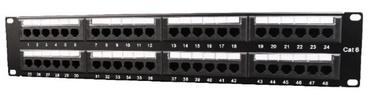 Gembird Patch Panel 19'' CAT6 24-Port Black