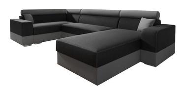 Stūra dīvāns Idzczak Meble Infinity Super Black/Grey, 336 x 185 x 93 cm