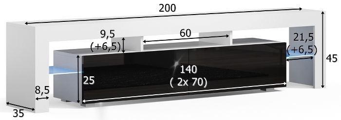 TV galds Pro Meble Milano 200 Black/Grey, 2000x350x450 mm