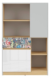 Black Red White Nandu Shelf 79.5x126x39cm Gray/Oak/White/Sticker