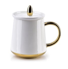 Mondex Basanti Cup With Lid 380ml White/Gold