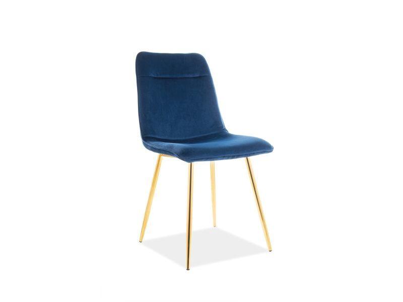 Signal Meble Eros Velvet Chair Navy/Gold