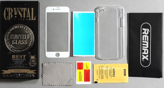 Remax White Full Face Tempered Glass + Transparent Back Case For Apple iPhone 7 Plus