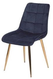 Ēdamistabas krēsls Signal Meble Chic Velvet Dark Blue/Gold, 1 gab.