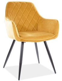Ēdamistabas krēsls Signal Meble Modern Linea Velvet, dzeltena