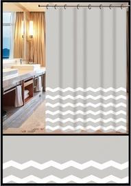 Штора для ванной Home Accents ZHY049-1, белый/серый, 1800 мм x 1800 мм