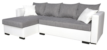 Stūra dīvāns Platan Karol 01 Grey/White, 230 x 140 x 80 cm