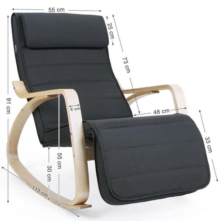 Atzveltnes krēsls Songmics, pelēka, 67x115x87 cm