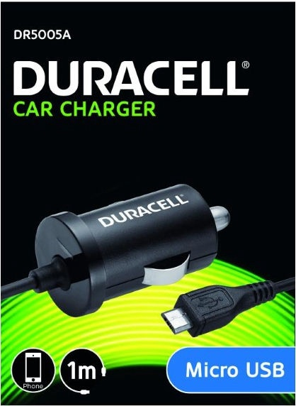 Duracell Universal Micro USB Car Charger With Cable 1m Black