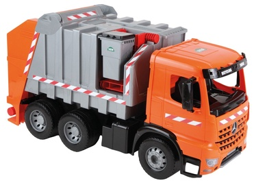 Lena Strong Giant Garbage Truck Mercedes Arocs 3 Axle Orange/Silver With Labels 02168