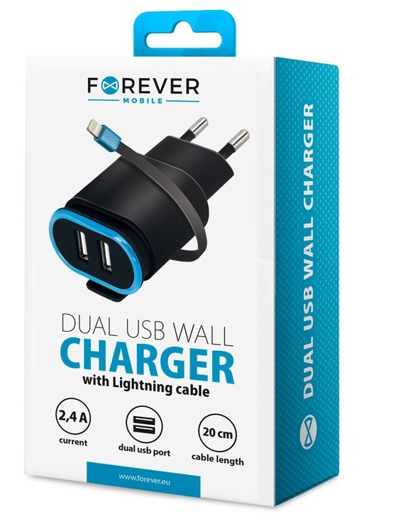 Forever TC-02 Dual USB Wall Charger + Apple Lightning Cable 20cm Black