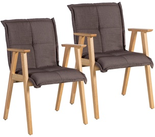 Home4you Razor Chair With Armrests 2pcs Brown