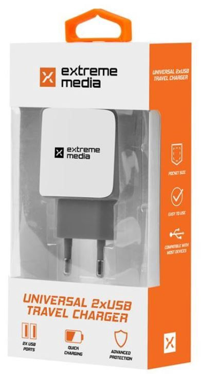 Natec Charger Adapter USB x2 White/Grey