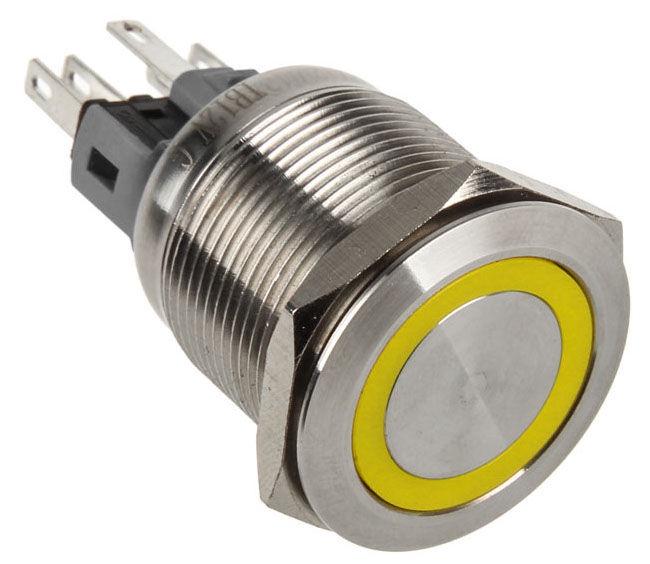 DimasTech Push Button 22mm Silverline Yellow