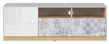 ТВ стол Black Red White Nandu, белый/серый/дубовый, 1350x390x460 мм