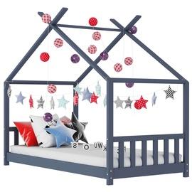 Bērnu gulta VLX Solid Pine Wood 283370, pelēka, 146x78 cm