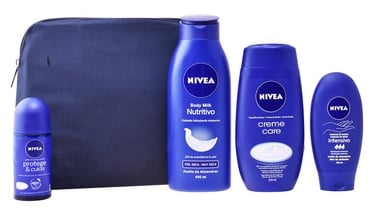 Nivea Body Milk 400ml + 50ml Deo Roll On + 250ml Shower Gel + 100ml Hand Cream + Cosmetic Bag