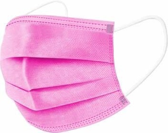 3-Layer Disposable Medical Face Masks Pink 50pcs