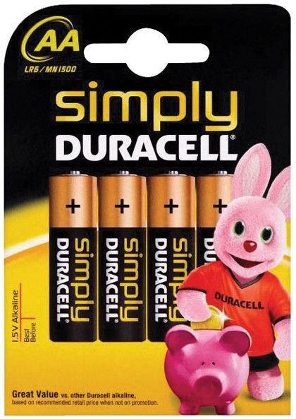 Duracell MN 1500 Simply Power AA LR6 Batteries 4x