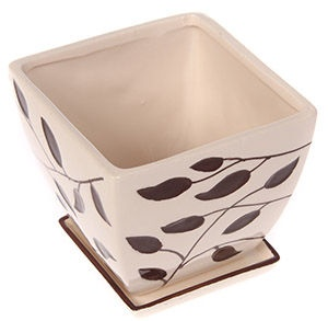Polnix Deco 13 x 10cm Square Flowerpot with Decor