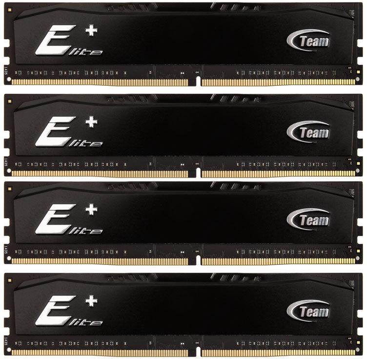 Team Group Elite Plus Black 16GB 2133MHz CL15 DDR4 KIT OF 4 TPKD416G2133HC15QC01