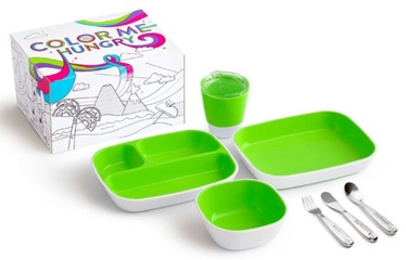 Munchkin Color Me Hungry Splash Dining Set with Personalized Polish Utensil Set Green