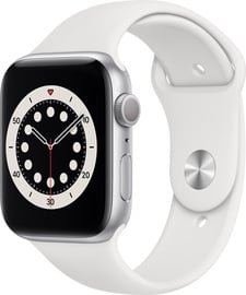 Apple Watch Series 6 GPS 44mm Silver Aluminum White Sport Band