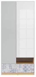 Skapis Black Red White Nandu Gray/Oak/White/Arabesque, 90x55x200.5 cm