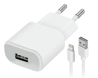 Forever TC-01 USB Wall Charger 2A + Apple Lightning Cable 1.2m White
