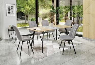 Pusdienu galds Halmar Albon, melna/pelēka/ozola, 1200 - 1600x800x760mm