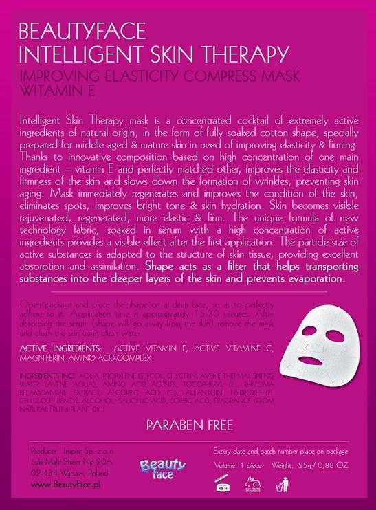 Sejas maska BeautyFace Intelligent Skin Therapy Improving Elasticity Compress Mask Vitamin E , 1 gab.