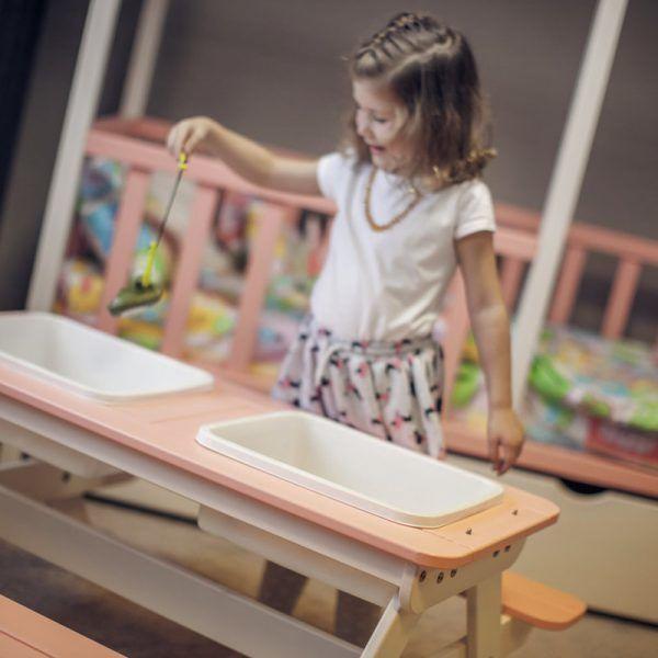 Āra mēbeļu komplekts Folkland Timber Multifunctional Children's Picnic Table White/Graphite