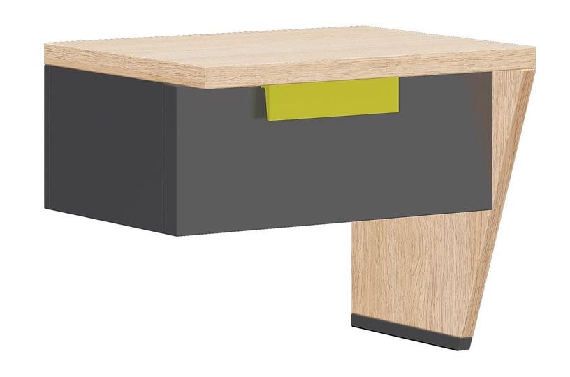 Ночной столик Szynaka Meble Wow 11 Graphite/Green/Oak